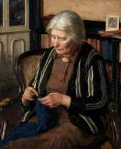 Foggie, David Simpson, 1878-1948; Grandmother Knits